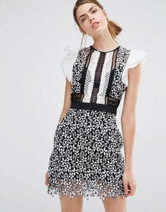 Image 1 ofSelf Portrait Frill Sleeved Daisy Guipure Mini Dress
