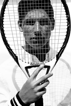 male model, tennis court, black and white, men, sport, tennis, tennis racket, hard shadows