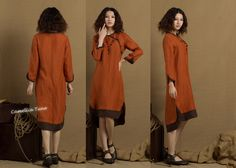 long linen tunic in brown / double layered shirt by camelliatune, $79.00