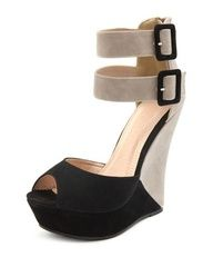 Ready to strut your stuff in the Double Buckle Color Block Wedge?!