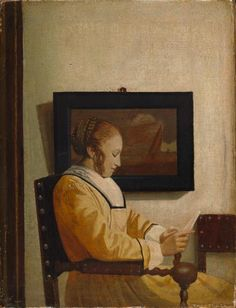 Page: A Young Woman Reading  Artist: Johannes Vermeer  Style: Baroque  Genre: genre painting  Technique: oil  Material: canvas  Dimensions: 19.7 x 14.6 cm  Gallery: Metropolitan Museum of Art, USA