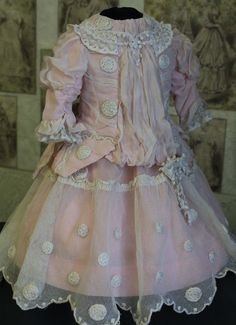 """Beautiful French Bebe lace dress for doll 22-23"""" FOR SALE • CAD 118.64 • See Photos! Money Back Guarantee. Beautiful French Bebe dress for doll 22-23"""" I offer one of a kind couture pink cotton and white lace dress....front light pink thin silk (100%). Antique tulle lace is very 152414617149"""