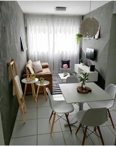 Small space No problem! Everything is possible in the interior design world! Small Apartment Interior, First Apartment Decorating, Small Apartment Living, Small Living Rooms, Home Living Room, Living Room Decor, Home Room Design, Home Interior Design, Living Room Designs