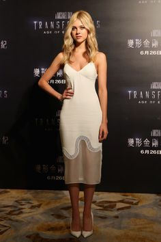 Nicola Peltz in Stella McCartney at the Hong Kong Transformers: Age of Extinction photocall.