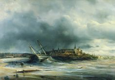 """Alexey Petrovich Bogolyubov March 1824 3 February The death of the frigate \\\""""Alexander Nevsky \\\"""" (Day view) 1868 Oil on canvas, 1868 145 x 190 cm Central Naval Museum, St. Petersburg, Russia (Town is Reval aka Tallinn) Russian Landscape, David Garrett, Paper Models, Oil On Canvas, Museum, Military, Pictures, Painting, Image"""