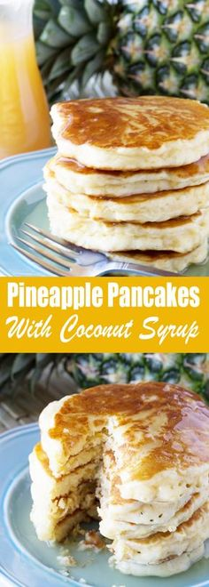the blend of tropical flavors in these delicious Pineapple with Coconut Syrup. Give your morning the island treatment!Enjoy the blend of tropical flavors in these delicious Pineapple with Coconut Syrup. Give your morning the island treatment! What's For Breakfast, Breakfast Pancakes, Pancakes And Waffles, Breakfast Items, Breakfast Dishes, Coconut Pancakes, Birthday Breakfast, Pancakes Easy, Avacado Breakfast
