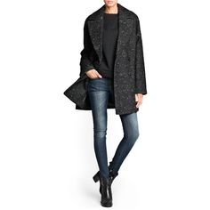 MANGO Texture wool-blend oversize coat (€35) ❤ liked on Polyvore featuring outerwear, coats, outfit, wool blend double breasted coat, double breasted coat, mango coat, oversized coat and wool-blend coat