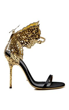 Butterfly Cutout Satin and Metallic Leather Sandals by Sergio Rossi - Moda Operandi