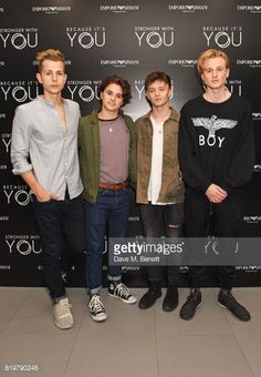 James McVey Bradley Simpson Connor Ball and Tristan Evans of The Vamps attend the Emporio Armani You Fragrance launch at Sea Containers on July 20...