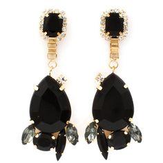 Black Jewelled Petal Earrings