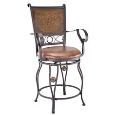 Powell Aberdeen Counter Stool with Arms (Counter Stool with Arms), Brown (Metal)