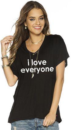 I Love Everyone Black V V Neck Oversized Tee Peace Love World Peace