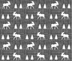 Moose Fabric - Moose Trot / On Charcoal Linen Custom Fabric By Ivie Cloth Co - Moose Cotton Fabric By The Yard with Spoonflower