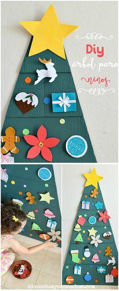 Árbol de navidad para niños, hecho con cartón y fieltro, entretenimiento seguro en casa