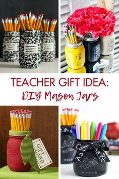 Teacher gift idea: DIY mason jars Perfect back to school or teacher appreciation week gift! wwwroseclearfiel… The post Teacher gift idea: DIY mason jars Perfect back to… appeared first on Pinova - Paper Crafts Craft Projects For Adults, Diy Craft Projects, Mason Jar Gifts, Mason Jar Diy, Best Teacher Gifts, Diy Back To School, Christmas Mason Jars, Teacher Appreciation Week, Boyfriend Gifts