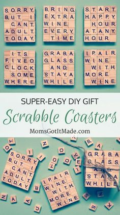 Perfect personalized gift for a … Easy DIY Scrabble Tile Coaster craft. Scrabble Letter Crafts, Scrabble Coasters, Scrabble Art, Diy Coasters, Scrabble Ornaments, Crafts With Scrabble Tiles, Scrabble Pieces Crafts, Pallet Coasters, Scrabble Frame