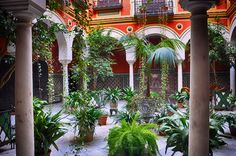 courtyard a few minor changes and its perfect Spanish Garden, Beautiful Homes, House Beautiful, Inside Outside, Andalusia, Garden Spaces, Old World, My Dream Home, Outdoor Living
