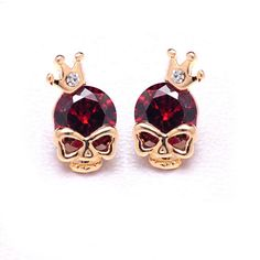 Skull Crown Stud Earrings - Brilliant skull earrings with royal red, blue, green crystal head. These fierce yet elegant lightweight studs are finished with gold and silver tone alloy. Perfect gift for ladies!