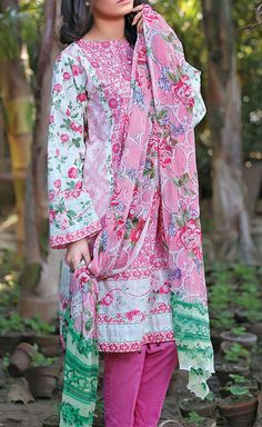 Buy Pink/White Embroidered Cotton Lawn Dress by Gulaal 2016 www.pakrobe.com Call:(702) 751-3523 Email: Info@PakRobe.com www.pakrobe.com/... #DESIGNER #LAWN #DRESSES