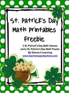St Patrick's Day Math Printables