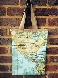 Cream calico shopper with indonesian print edging negozi e etsy oilcloth tote bag world map design gumiabroncs Images