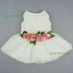 "Fitwarm 16""Chest Pink Rose Dog Wedding Dress M Pet Clothes Lace Bridal Apparel #Fitwarm"