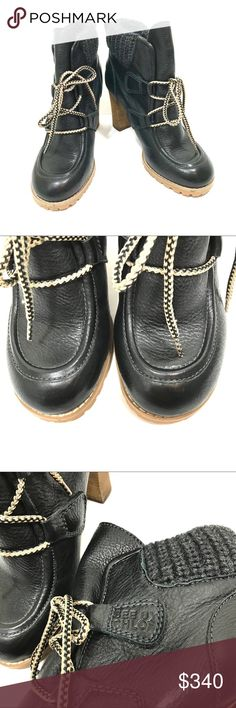 "Chloé ""Wallabee"" Booties See by Chloé ""wallabee"" booties feature knitting along the top line and a neutral tricolor lace-up closure add to the outdoorsy feel of these leather boots. Stacked heel and lug sole. Leather: Calfskin. Imported. Certificate of Authenticity. See By Chloe Shoes Ankle Boots & Booties"