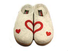 Haflinger Hearts Felt Clogs Grey Shoegarden | Haflinger Shoes, Slippers and Clogs.