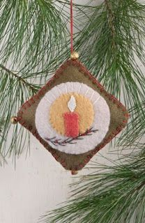 """Wool candle ornament from Hearth & Home Holidays patter. """"Torch For Trinity""""; Felt Christmas Decorations, Christmas Ornaments To Make, Christmas Sewing, Noel Christmas, Felt Ornaments, Christmas Projects, Felt Crafts, Handmade Christmas, Holiday Crafts"""