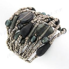 LUSCIOUS HANDMADE PEWTER SEED BEADS MINERAL CHIPS bracelet #Beaded