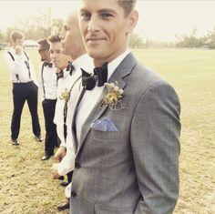 Grey Tux. Bow Tie.  Handsome groom.  Country hipster rustic groomsmen.