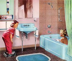 Decor Splendid 5 Weird Old Home Trends I'd Love to See Make a Comeback The post 5 Weird Old Home Trends I'd Love to See Make a Comeback… appeared first on Migno Decor . - 5 Weird Old Home Trends I'd Love to See Make a Comeback 1950s Bathroom, Mid Century Bathroom, Vintage Bathrooms, Kohler Bathroom, Bathroom Fixtures, Modern Bathroom, Girl Bathrooms, Marble Bathrooms, Bathroom Art