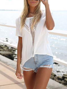 Camiseta crochet panel manga corta -blanco