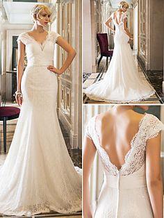 Wedding Dress Trumpet Mermaid Court Train Stretch Satin and Lace Queen Anne Neckline | LightInTheBox