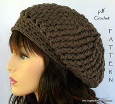 crochet hat pattern Fourth Avenue slouchy hat by longbeachdesigns, $4.99