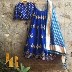 Blue and silver lehenga and blouse by Jayanti Reddy. Indian fashion.