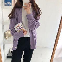 Lila Outfits, Purple Outfits, Cute Casual Outfits, Korean Girl Fashion, Korean Fashion Trends, Korea Fashion, Korean Outfit Street Styles, Korean Outfits, Mode Chanel