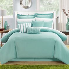 Chic Home Karlston Stitch Embroidered Blue Comforter Set Blue Comforter Sets, Best Bedding Sets, Luxury Bedding Sets, Blue Bedding, Queen Bedding, Teen Girl Bedrooms, Aqua Bedrooms, Bed Sizes, My New Room