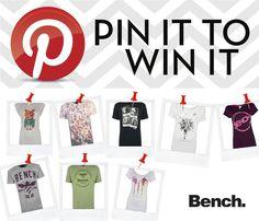 Bench verlosen T-Shirts aus der aktuellen Kollektion. Repinne dein Lieblingsshirt und nimm an der Verlosung teil. Teilnahme bis zum 30. November!