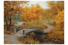 [Visit to Buy] new full Diy diamond painting kit cross stitch Square Diamond embroidery Autumn Scenic Brudge Diamond Mosaic Crafts ZX Paint By Number Kits, Autumn Scenery, Mosaic Crafts, 5d Diamond Painting, Cross Paintings, Paint Set, Diy Painting, Painting Snow, Autumn Painting
