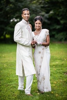 Indian Bride and Groom in White Sari and Sherwani Portraits - 2