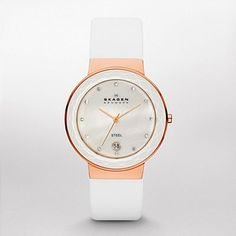 Classic White Leather Womens Watch SKW2034   ®