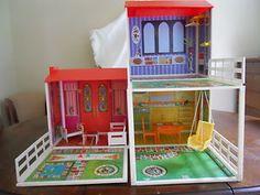 VINTAGE BARBIE DOLL LIVELY LIVIN HOUSE IN ORIGINAL BOX WITH FURNITURE | eBay