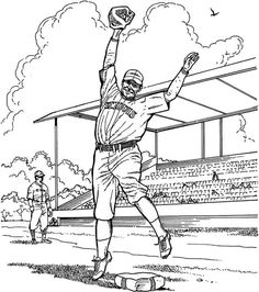 Pitcher Baseball Coloring Page | Purple Kitty