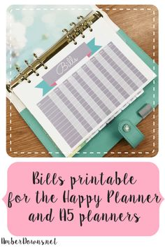 Bills planner printable (Happy Planner & A5 size)