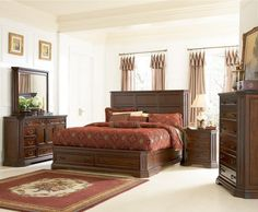 Shop Foxhill Traditional Deep Brown Master Bedroom Set with great price, The Classy Home Furniture has the best selection of to choose from Oak Bedroom Furniture Sets, Rustic Bedroom Sets, King Size Bedroom Sets, King Furniture, Queen Bedroom, Furniture Design, Coaster Furniture, Bedroom Ideas, Bedroom Designs