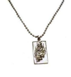 """Stainless Steel 24"""" Necklace with Flaming Skull 3/4"""" x 1 1/2"""" Charm."""