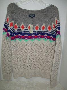 American Eagle Sweater Women's Sz M Medium Boatneck Gray Ivory Navy Orange BTS #AmericanEagleOutfitters #sweater #fall #fashion #backtoschool #cozy