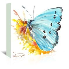 """East Urban Home Holly Blue Butterfly 2 by Suren Nersisyan Painting Print on Wrapped Canvas Size: 20"""" H x 24"""" W x 1.75"""" D"""