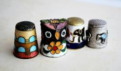 Vintage Enamelled Thimbles by honeyandsea on Etsy, $25.00
